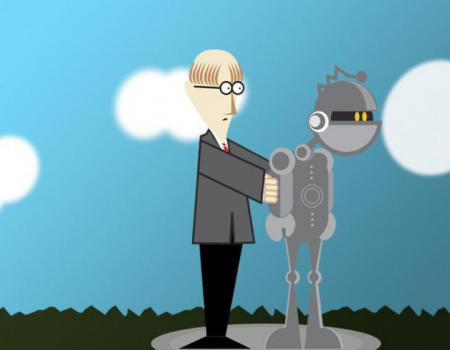 Cartoon of male standing behind robot