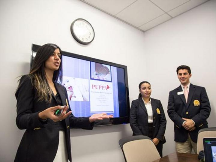 students presenting a project